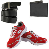 Combo Of Lotto Tremor Sports Shoes With FastFox Belt, Wallet (AR2933)