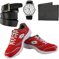 Combo Of Lotto Tremor Sports Shoes With FastFox Watch, Belt, Wallet (AR2933)