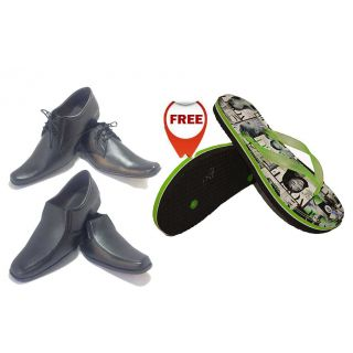 Buy Black Shoes With Lace  Get Black Shoes  With Mens FlipFlop Free