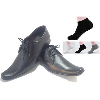 Buy Black Shoes With Lace With 3 Pcs Socks For Mens  Free