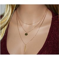 Multilayer Gold Coin Gold Metal Rod Plate Drop Gold Finish Chain Necklace