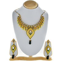 Asian Pearls & Jewels Green And Golden Necklace Set