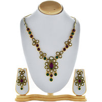 Asian Pearls & Jewels Necklace Set With Pendant - 87149439