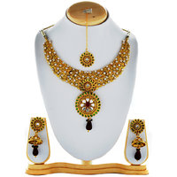 Asian Pearls & Jewels Golden Necklace Set With Multi Colour Jewels