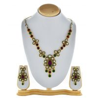 Asian Pearls & Jewels Necklace Set With Pendant - 87149448