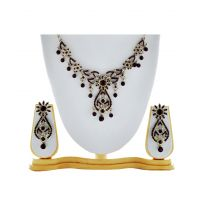 Asian Pearls & Jewels Black Necklace Set