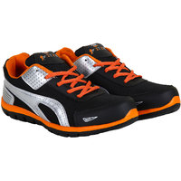Fitze Sports Shoes For Men Made By Mesh Textile And Eva Sole Black And Orange
