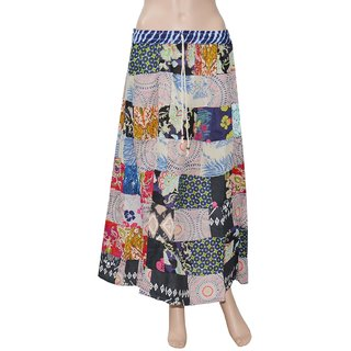 Pezzava: Women's Wear Cotton PatchWork Long Skirt Block Print SKT-PCL-A0089