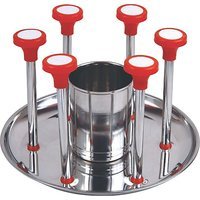 Glass And Spoon Organiser Super For 6 Glasses And Cutlery Glass Stand Made Of Stainless Steel