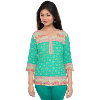 Pezzava: Embroidery Work Block Print Rajasthani Cotton Kurta TOP-A0216