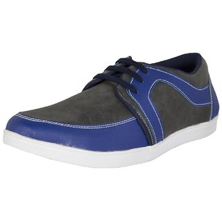 Mens Synthetic Grey And Blue Lace-up Casual Shoes