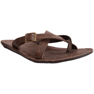 Brown Leather Slipper For Men-6052 Mardi Gras
