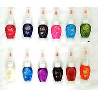 Set Of 12 Pcs Two Way Shining Nail Art & Nail Polish Attractive Color