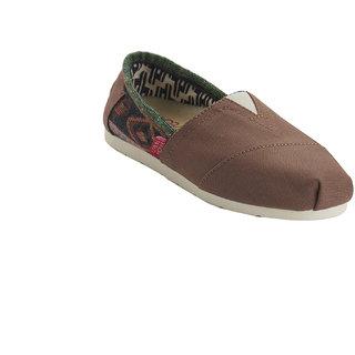 URBAN MONKEY Aztec Brown Canvas Slip Ons  (UST-0003-Brown)