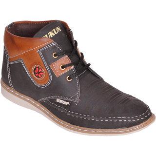 Sukun Black Ankle Length Casual Shoes For Men (AMZ334BLK)