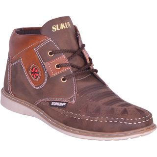 Sukun Brown Ankle Length Casual Shoes For Men (AMZ334BRN)