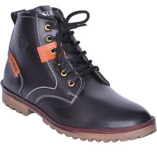 Sukun Black Ankle Length Casual Shoes For Men (BBTSDBLK)