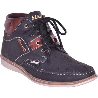 Sukun Black Ankle Length Casual Shoes For Men (MST157BLK)