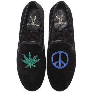 MENS BLACK VELVET SLIP-ON WITH LOVE  PEACE DESIGN BY BARESKIN