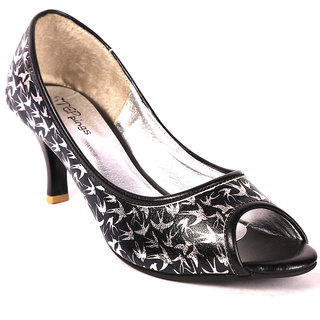 STEPpings Medium Heel Black Peep Toe