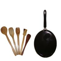 Dosa / Multipurpose Tawa With Set Of 5 High Quality Wooden Skimmers