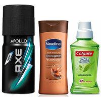 Axe Deodorant + Vaseline Total Moisture + Colgate Plax Fresh Tea