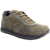 Sole Strings Mens Green Suede Leather Running Shoes (PAND-77020GRM00)