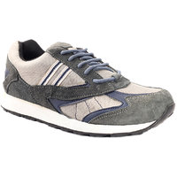 Sole Strings Mens Grey Suede Leather Running Shoes (PAND-77020GYM00)
