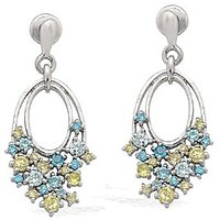Exxotic Trend 925 Sterling Silver Blue And Yellow Color American Diamond Earring