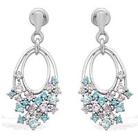 Exxotic Classic 925 Sterling Silver Blue And Aqua Color American Diamond Leaf Style Earring