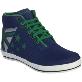 George Adam MenS Blue With Green Lace Ankle Length Casual Shoe ( Sk047 Allstar Blue Casual Boots)
