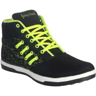 George Adam MenS Black With Neon Green Long Ankle Length Casual Shoes ( Sk049 Woodstone Black Boots)