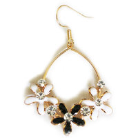Chamakdamak Golden Earrings With 3 Black And White Flowers