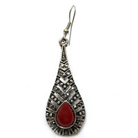 Chamakdamak Oxidised Silver Water Drop Earrings With Red Stone