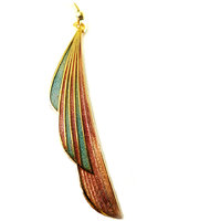 Chamakdamak Peach And Blue Feather Earrings