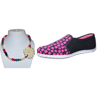 BIGBANG Pink Casual Shoes For Girls  With Necklace Piece (free)
