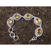 Yellow Quartz .925 Silver Metal Bracelet
