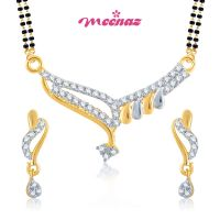 MEENAZ BEGUILLING CLASSY CZ   GOLD AND RHODIUM PLATED MANGALSUTRA SET MSPT106