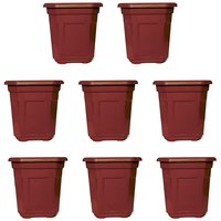 Small Octagonal Brick Brown Red Pot (Set Of 8) (Height 10 Cm, Top Width 9.5 Cm X 9.5 Cm)