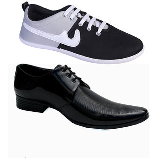 Shoe Striker Black Formal Shoes Combo With Black Casual Shoes
