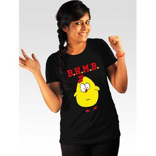 Incynk Women's Bade Hokar Maal Banegi Tee (Black)