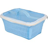 Rectangle Shaped Plastic Fruit And Vegetable Basket With Net Cover (Multicolour)
