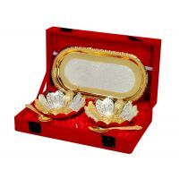 Gold And Silver Plated Floral Shaped Brass Bowl And Tray Set Of 5 Pcs