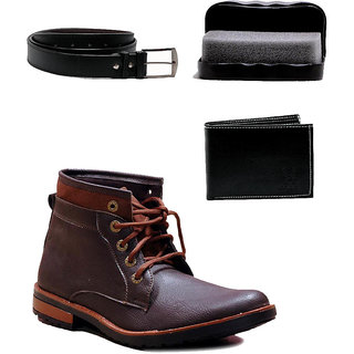 At Classic Brown Ankle Length Casual Combo Shoes