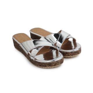 Do Bhai WomenS Silver Heel Sandals (Metalic-Arba-Silver)