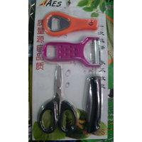 Set Of 4 Kitchen Tools - Knife,pealer,bottle Opener Scissor