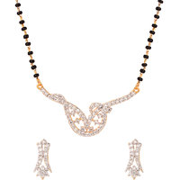 Gold Plated Mangalsutra Set With Single Chain Striking Contemporary Design