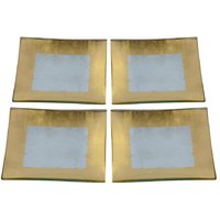Rect. Glass Plate W/Gold&Silver Foil Finish