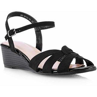 Tresmode Recross Women Black Wedges Buckle Sandals
