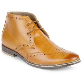 Jovelyn Ankle Length Tan Brogue Shoes J3041
